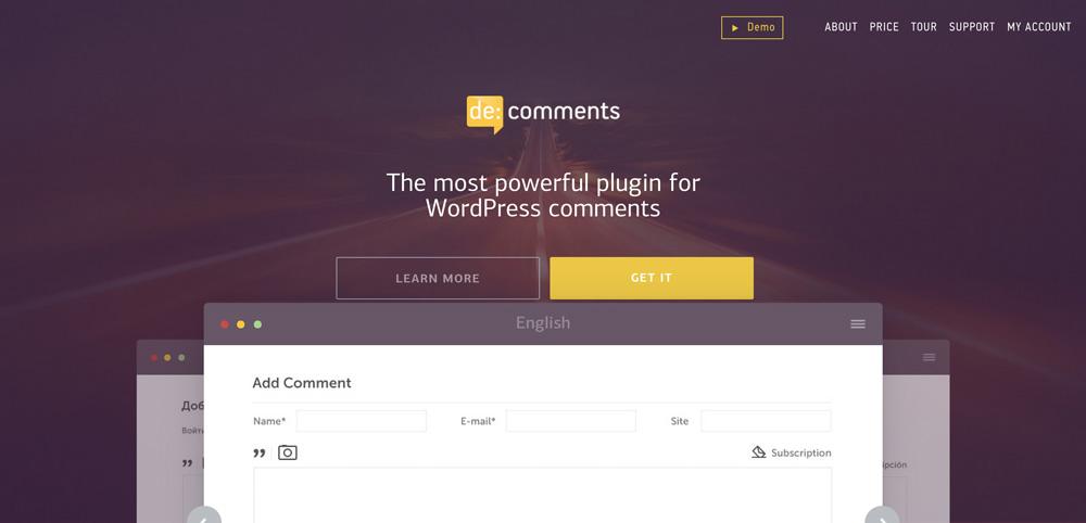 Die de:comments Website. Es existiert auch eine Demo zum Ausprobieren der Funktionen.