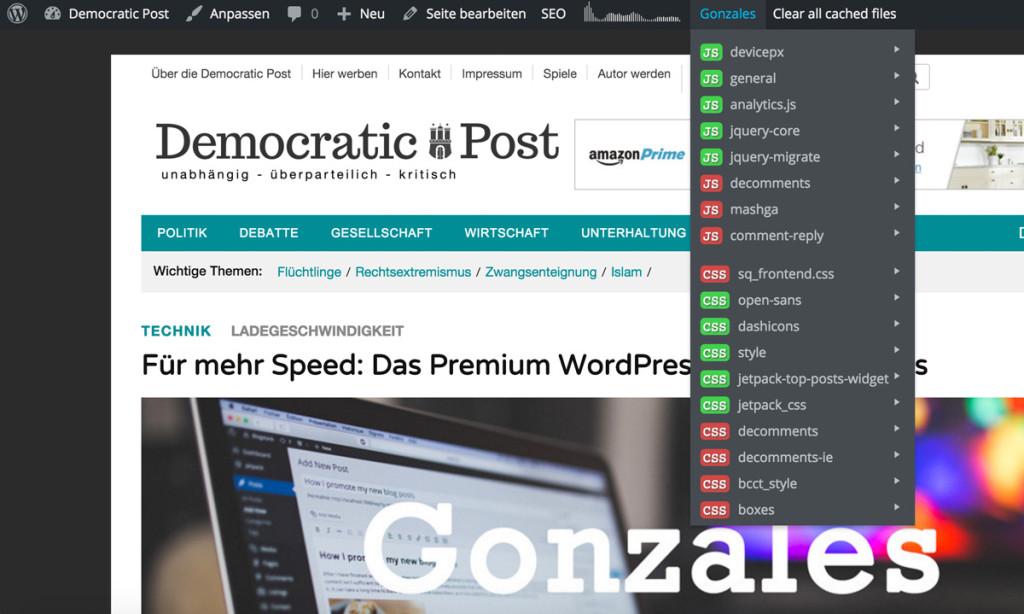 WordPress Plugin Gonzales: Über dieses einfache Menü lassen sich die Dateien sperren und freigeben.