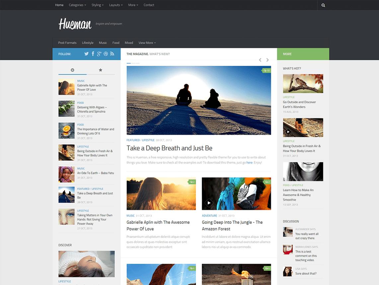 Ein Screenshot des Original Hueman Theme, das die Grundlage für unser Theme bildet.