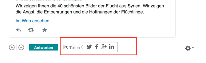 de:comments - Die Kommentare können sehr einfach in den Sozialen Netzwerken geteilt werden.