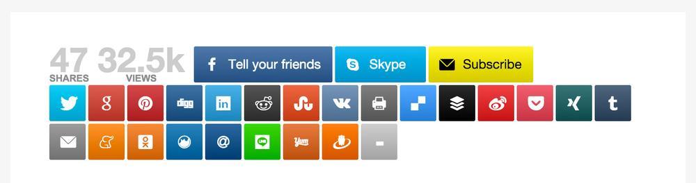Alle zur Verfügung stehenden Sozialen Netzwerke, über die geteilt werden kann.