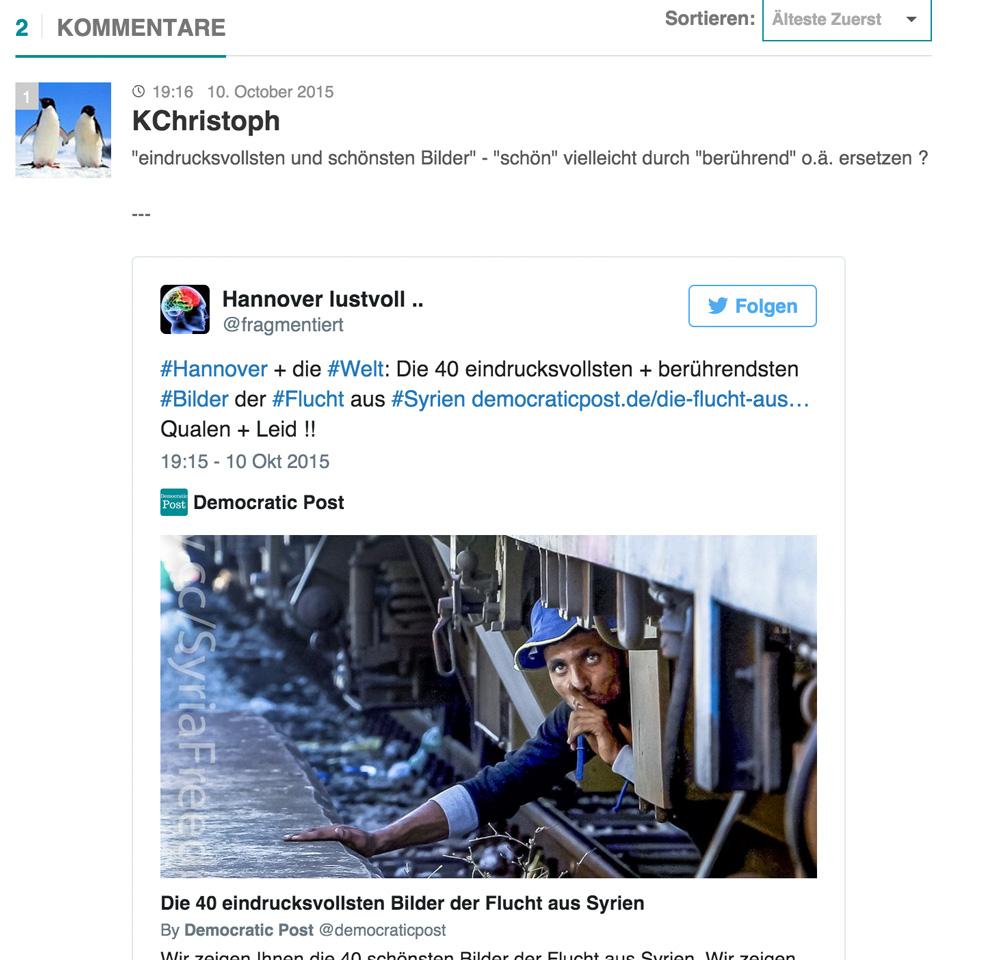 de:comments - Ein eingebetteter Tweet.