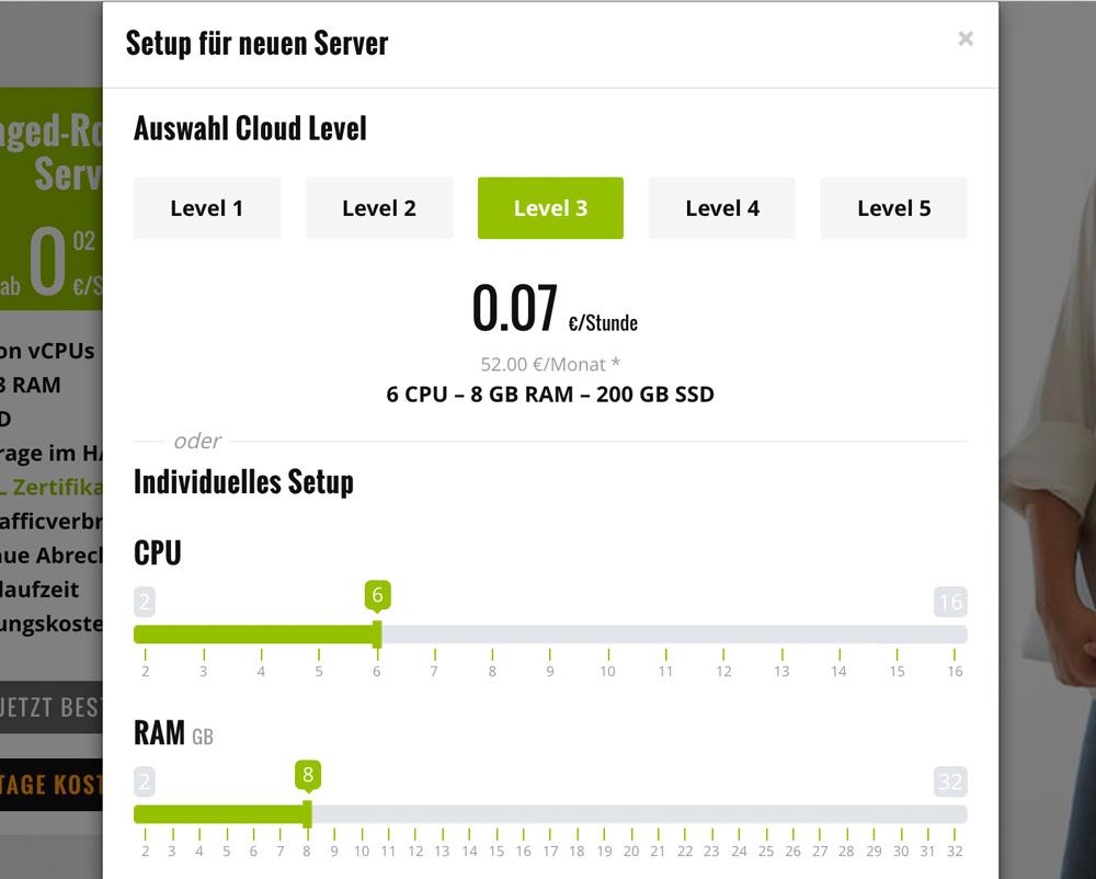 Mit den Schiebereglern erhöhst oder verringerst du die Power deines Servers ganz easy.