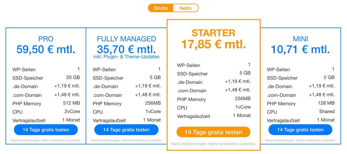 Die aktuellen Preise und Pakete von RAIDBOXES.