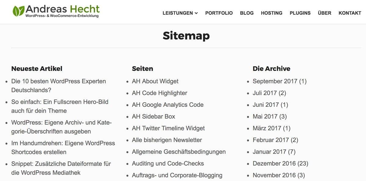 Meine WordPress Sitemap