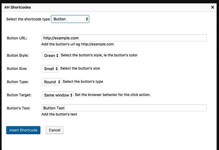 AH Shortcodes WordPress Plugin