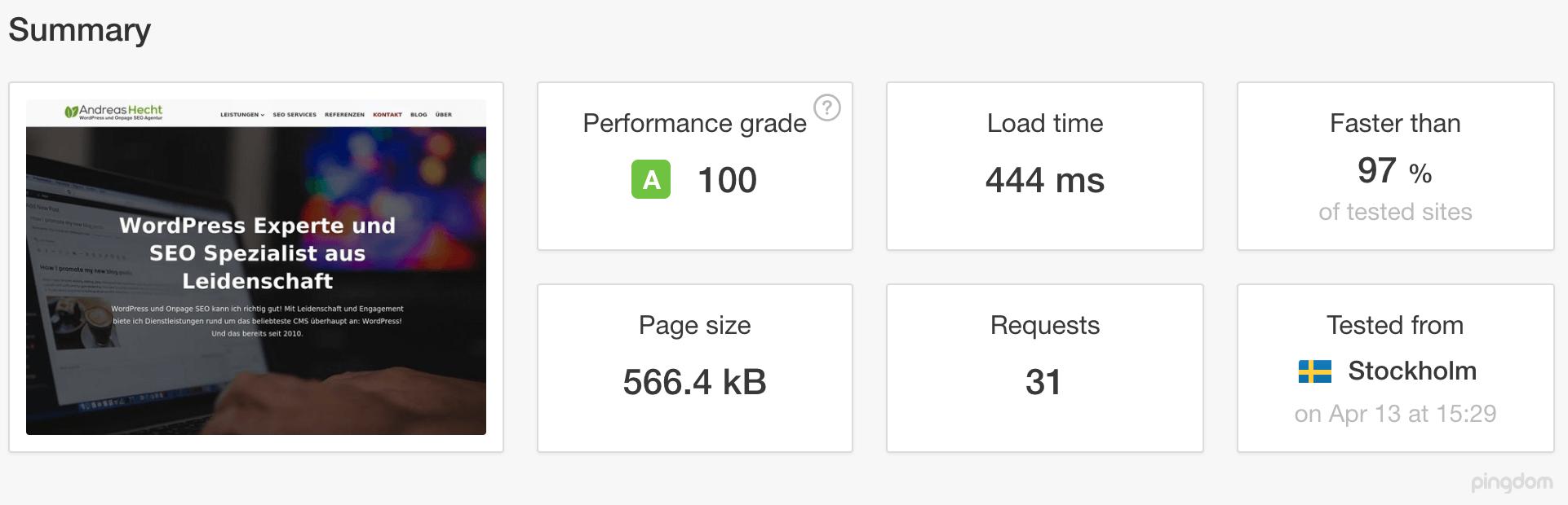 Das PageSpeed Ergebnis des Pingdom Tools Test für andreas-hecht.com