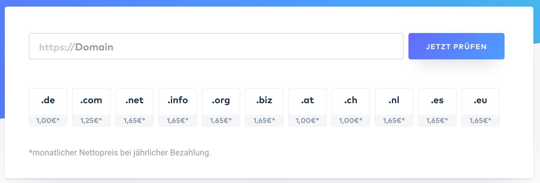 Domainpreise von Raidboxes