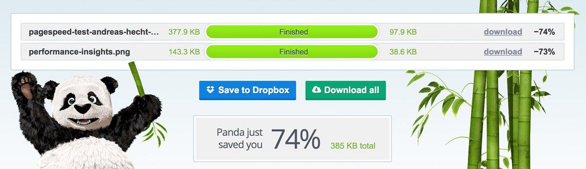TinyPNG hat die zwei Bilder meines Speed-Tests optimiert und 74% gespart