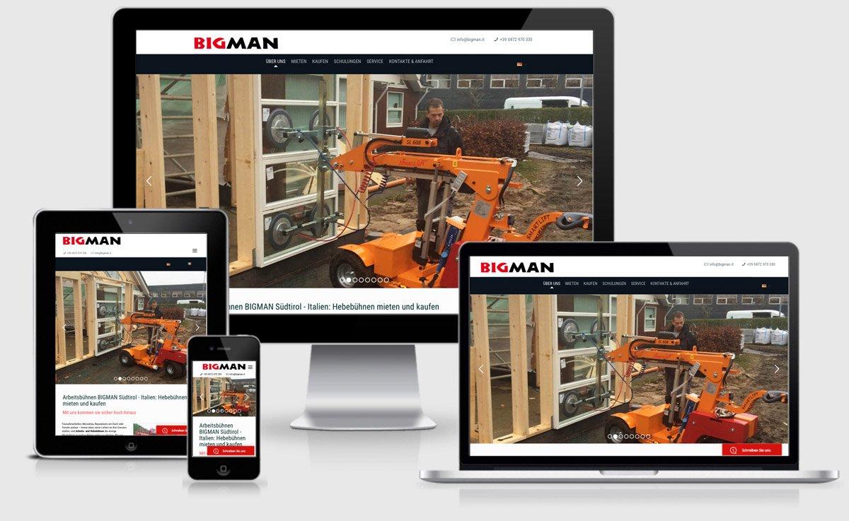 Die überarbeiteten mobilen Ansichten der Website bigman.it