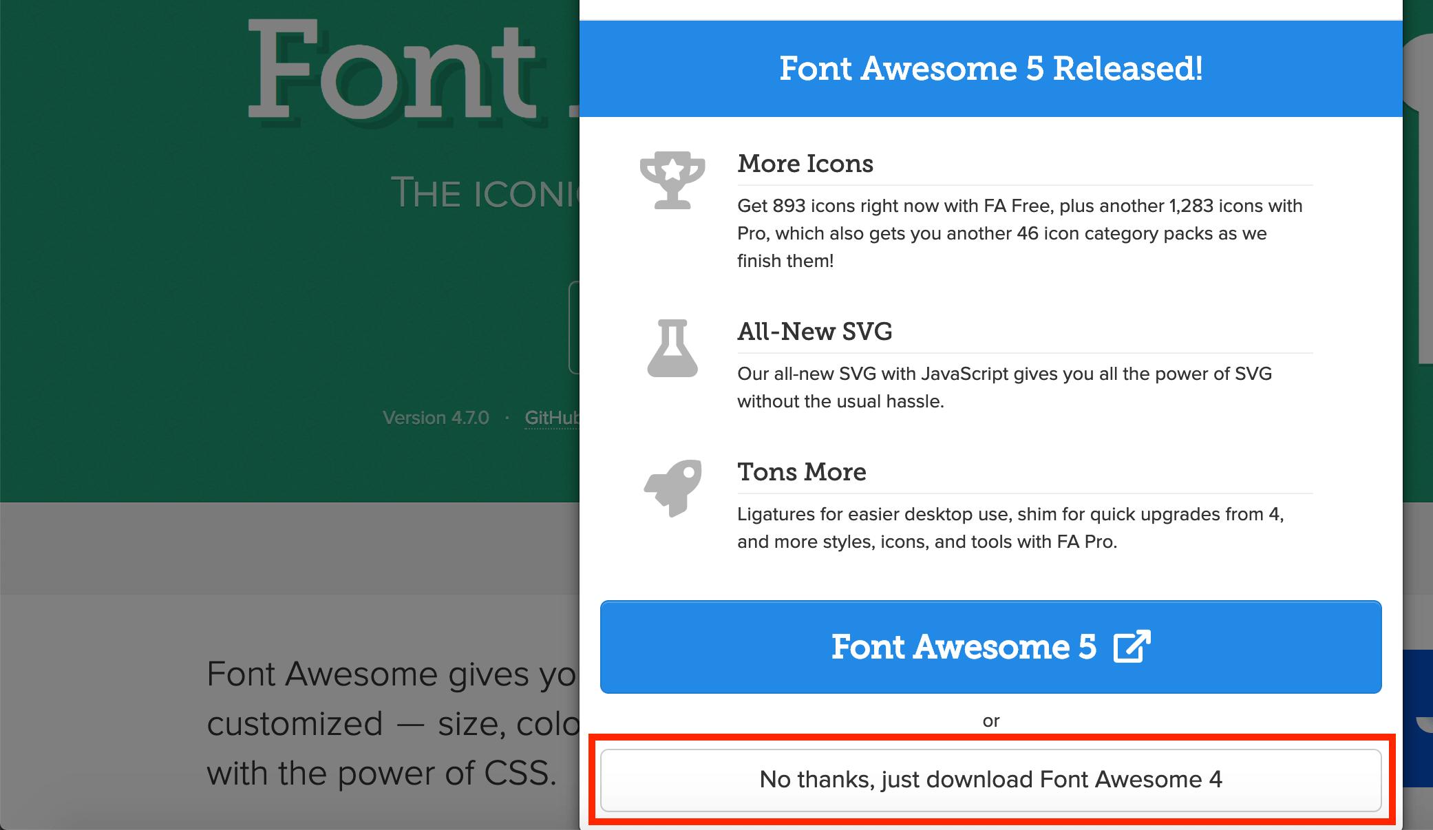 Der Download-Link der Version 4 von Fontawesome