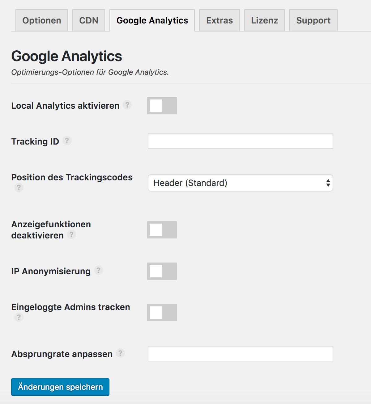Die Perfmatters Google Analytics Optionen