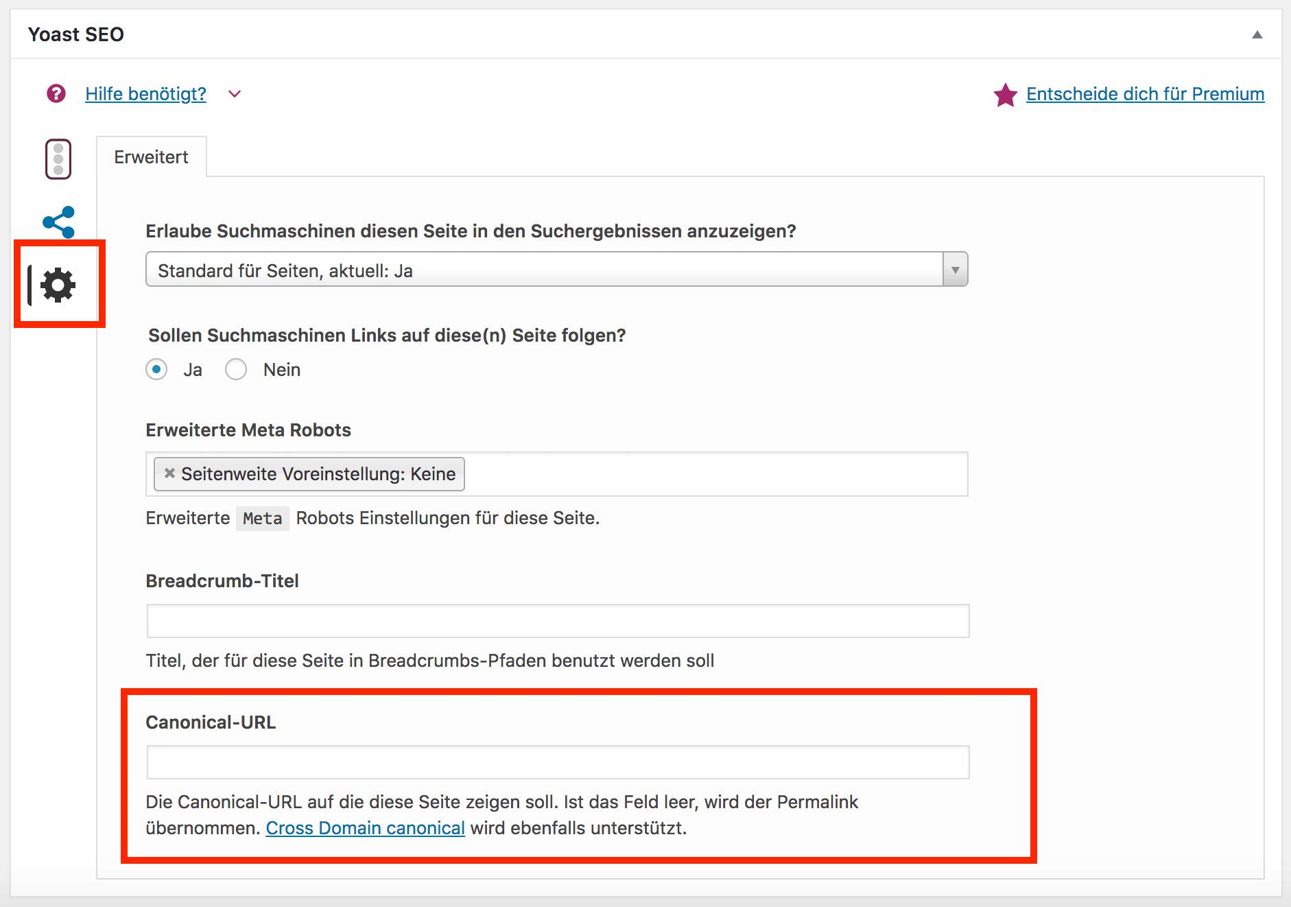 Duplicate Content: Einen benutzerdefinierten rel=canonical Link setzen in den Einstellungen von Yoast SEO