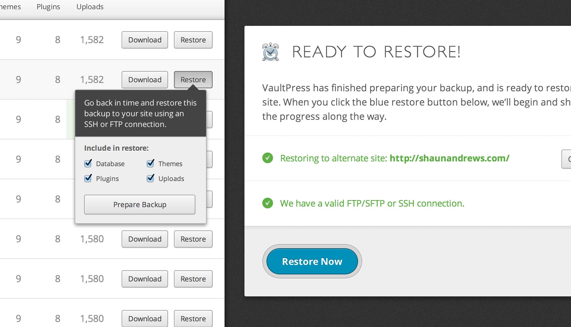 Theme Wechsel: Backup-Restore mit VaultPress