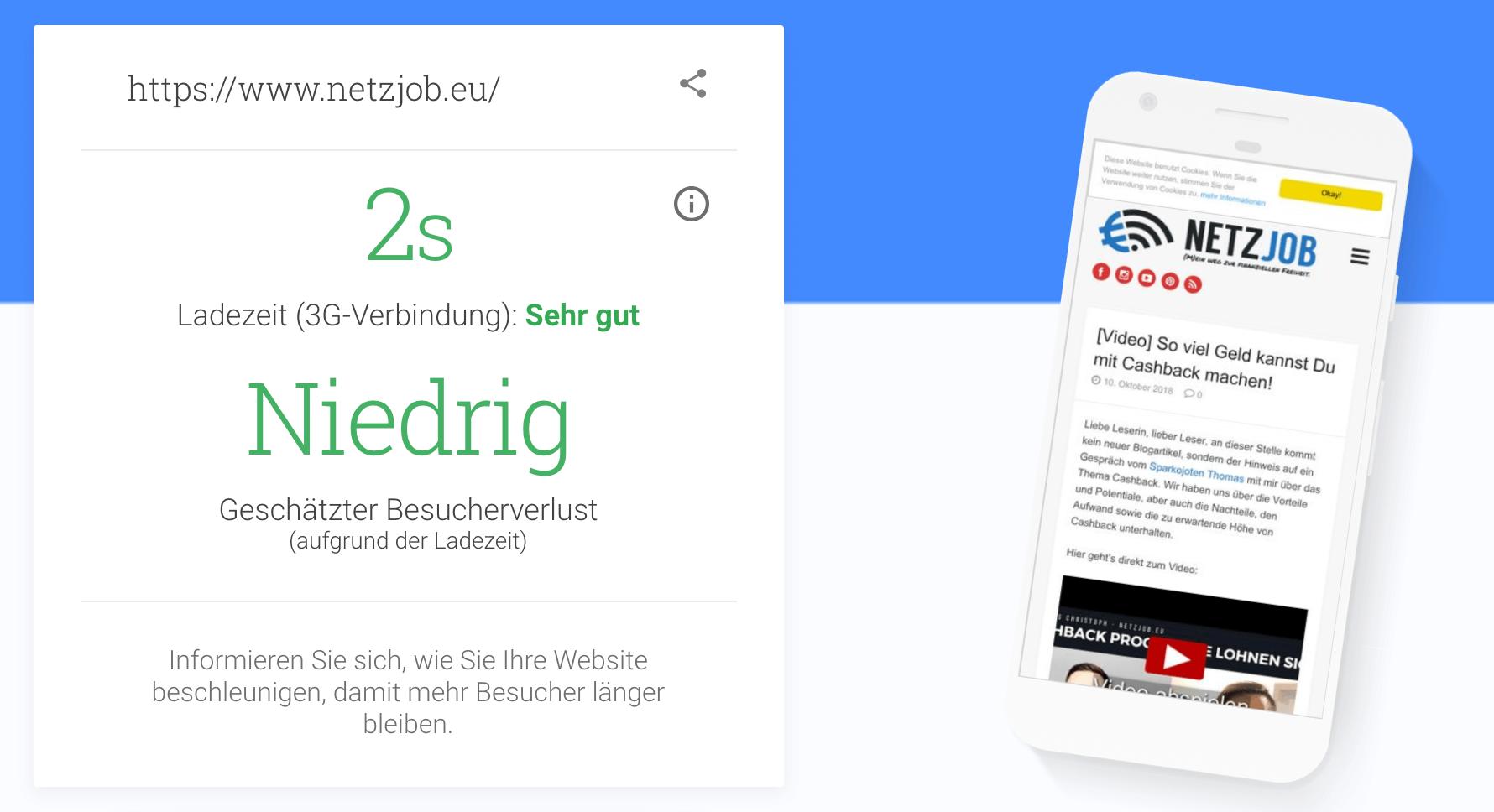 Netzjob.eu braucht nur 2 Sekunden Ladezeit unter 3G