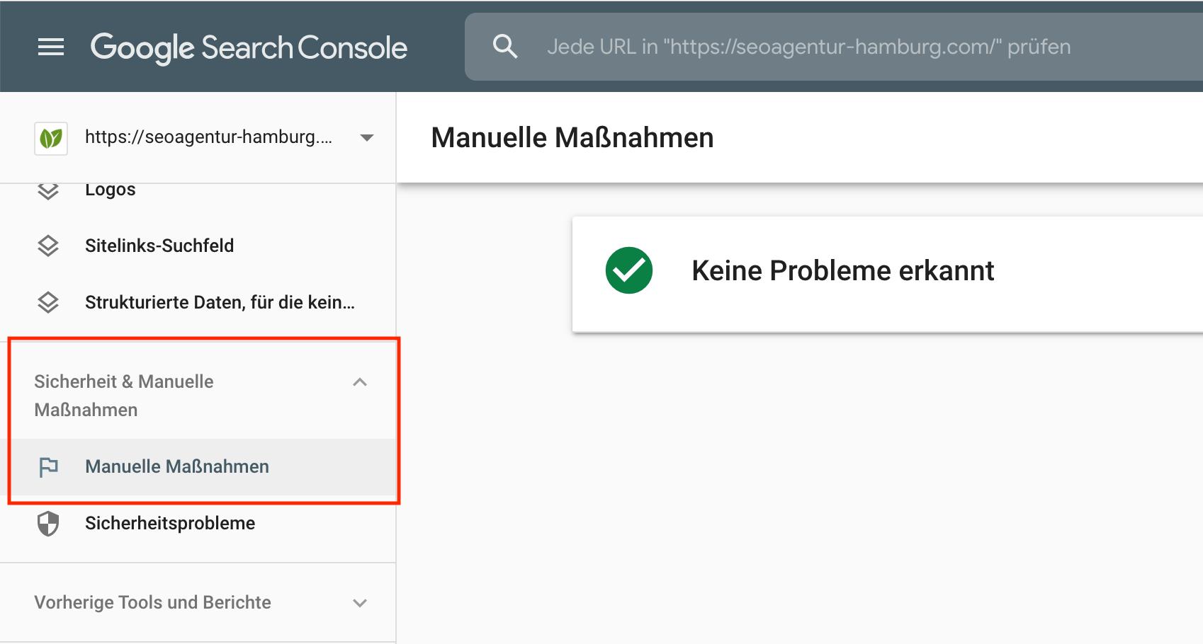 Google Search Console - Reiter Manuelle Maßnahmen. Liegt hier keine Nachricht vor, ist alles im grünen Bereich.