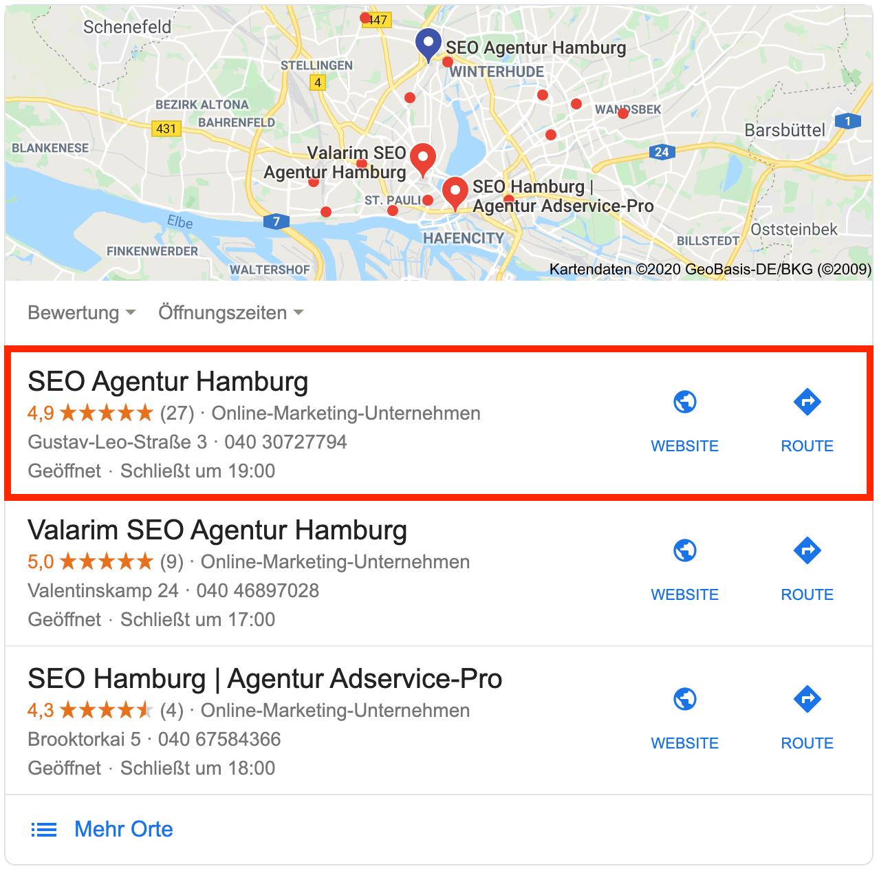 Die lokalen Suchergebnisse als Google Snack Pack. Perfekte Local SEO der Local SEO Agentur Hamburg