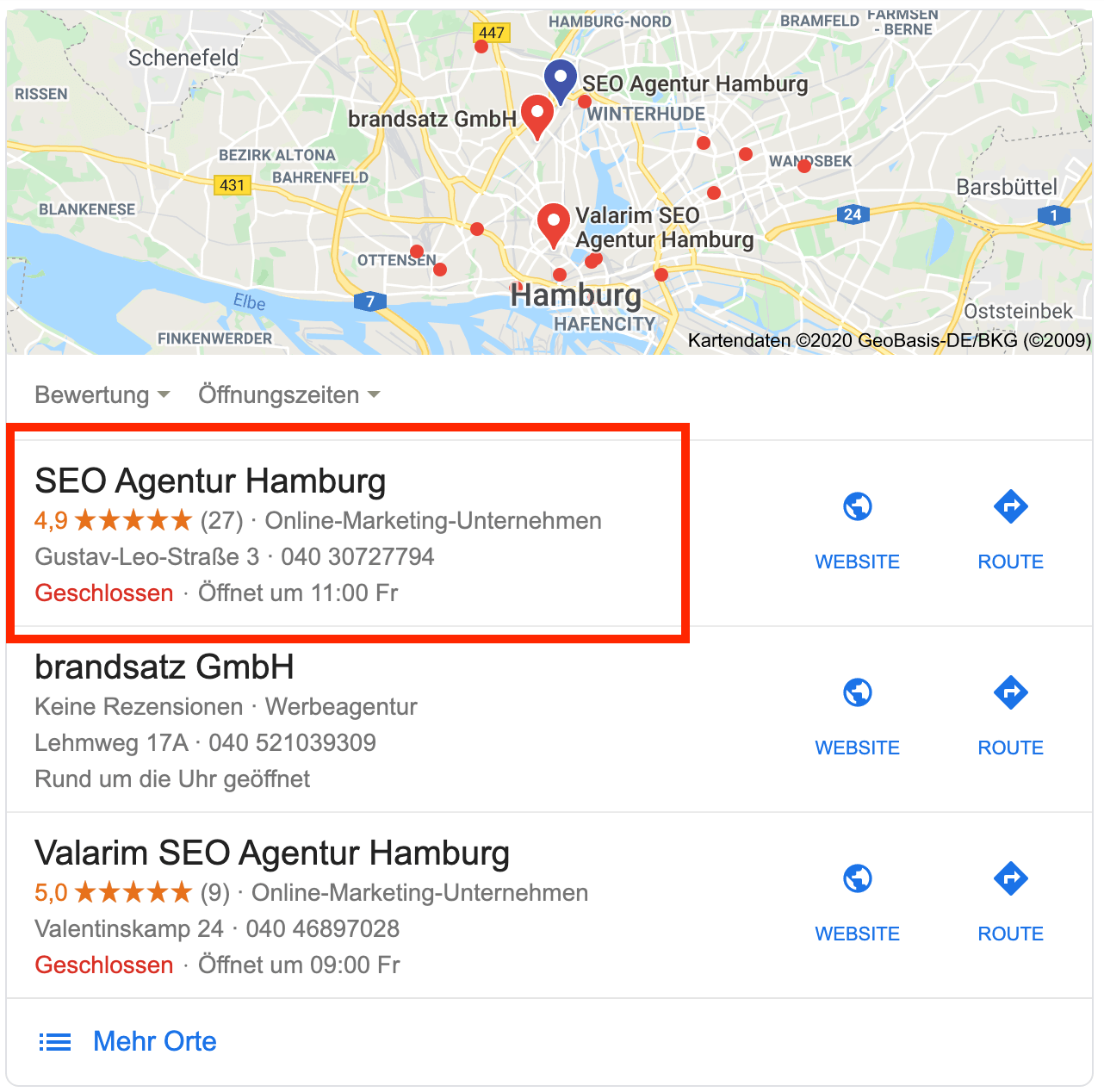 Lokales Suchergebnis für SEO Agentur Hamburg