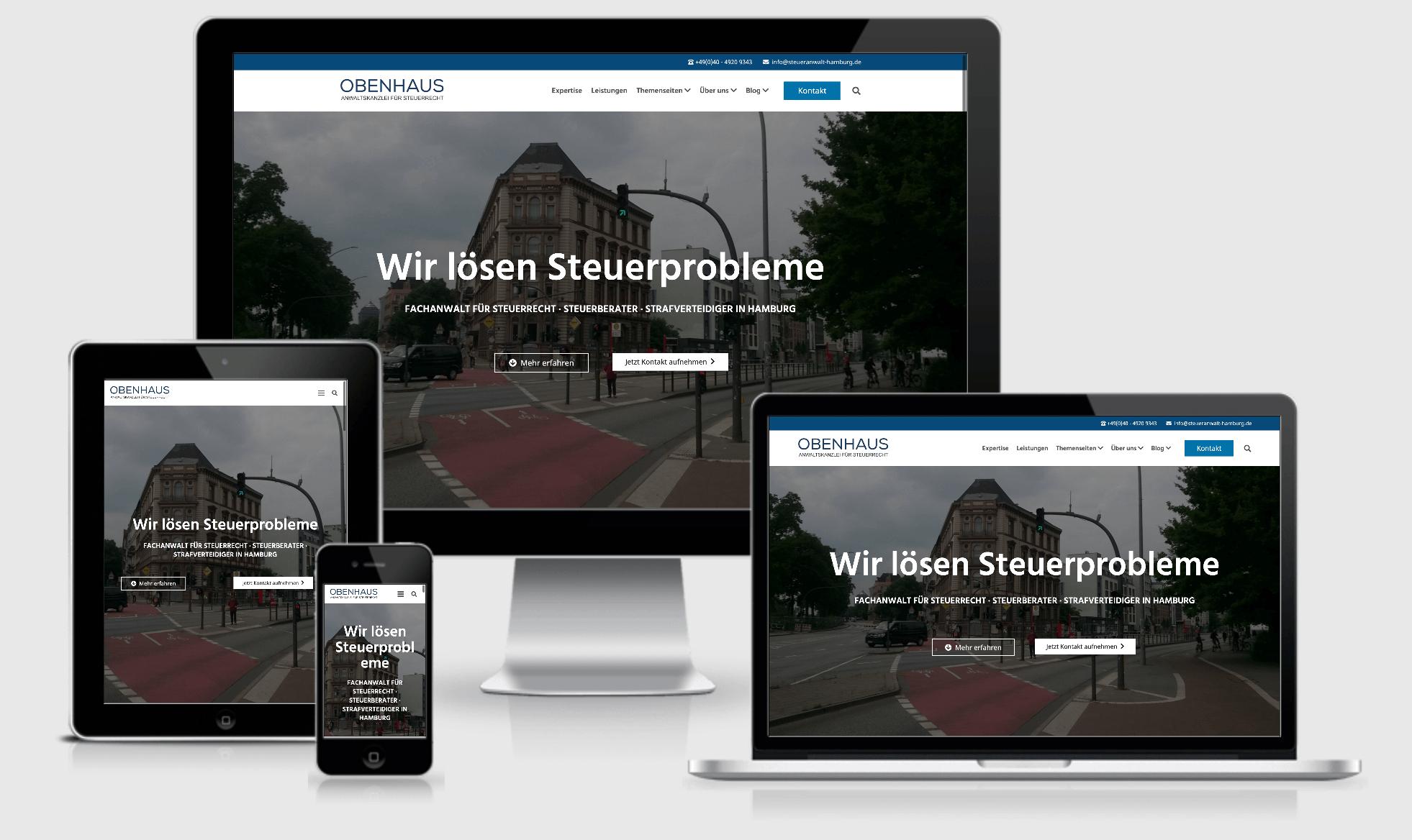 Die neue Website von OBENHAUS Anwaltskanzlei in Hamburg - responsive Ansichten
