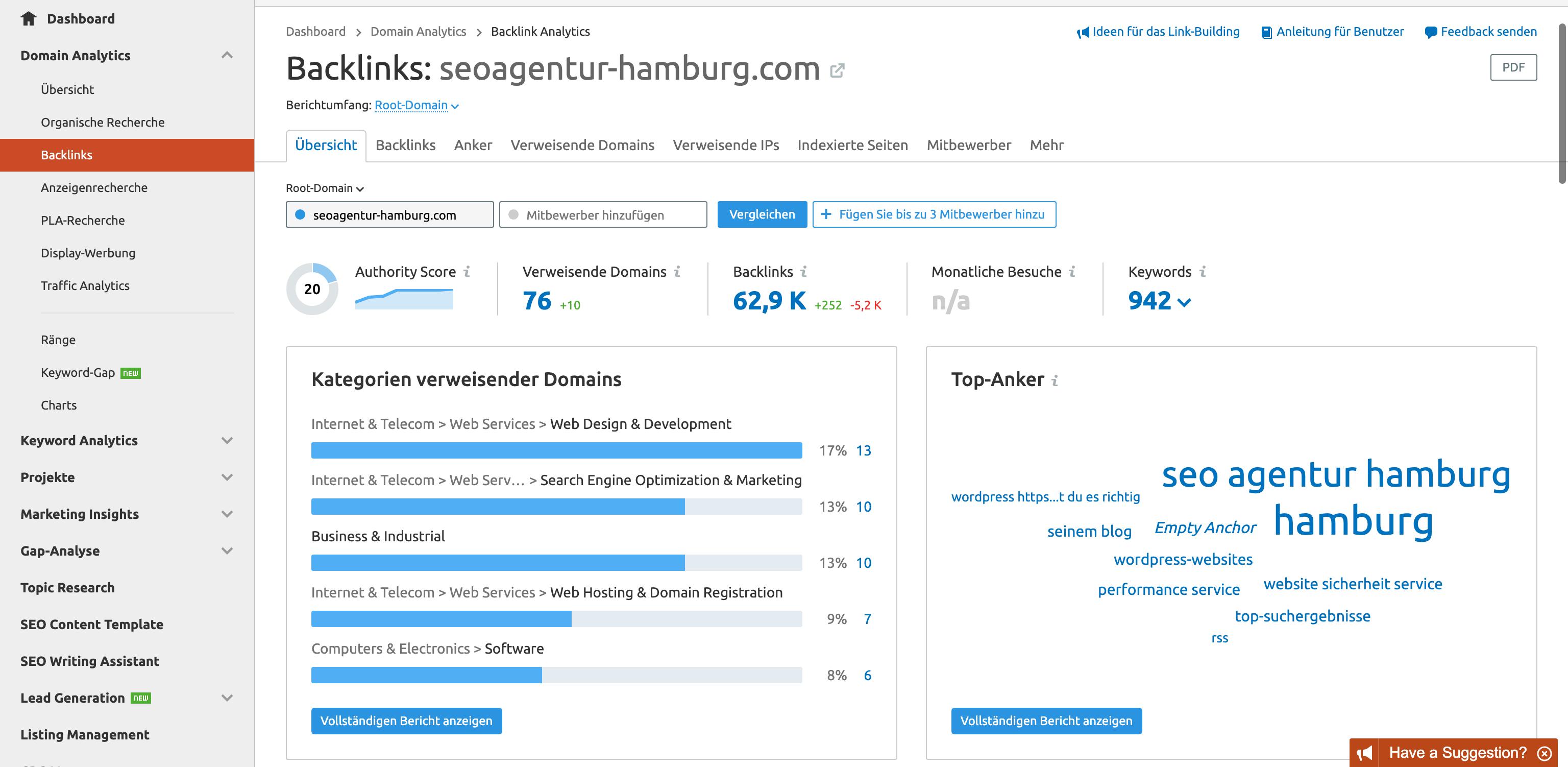 Der detaillierte Backlinkbereich von SemRush