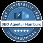 """Das Unternehmen """"SEO Agentur Hamburg"""" wird als eine der 100 sichtbarsten SEO-Agenturen im Jahr 2020 für seine herausragende SEO-Arbeit an der eigenen Agentur-Website ausgezeichnet."""
