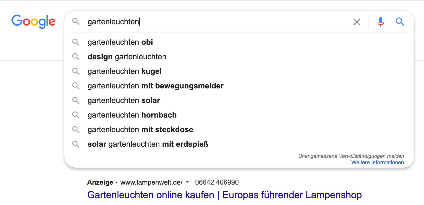 Erfolgreich bloggen: Google Suggest ist manchmal sehr hilfreich bei der Keyword-Recherche.