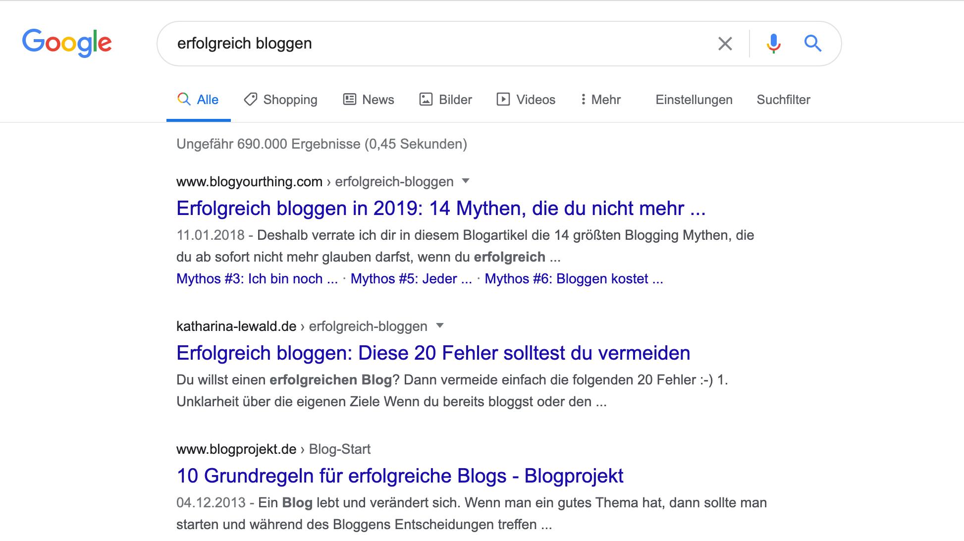 """Das Suchergebnis für """"erfolgreich bloggen"""". Hier wurde gleich drei Mal die Suchintention der User nicht getroffen. Das bietet Chancen."""