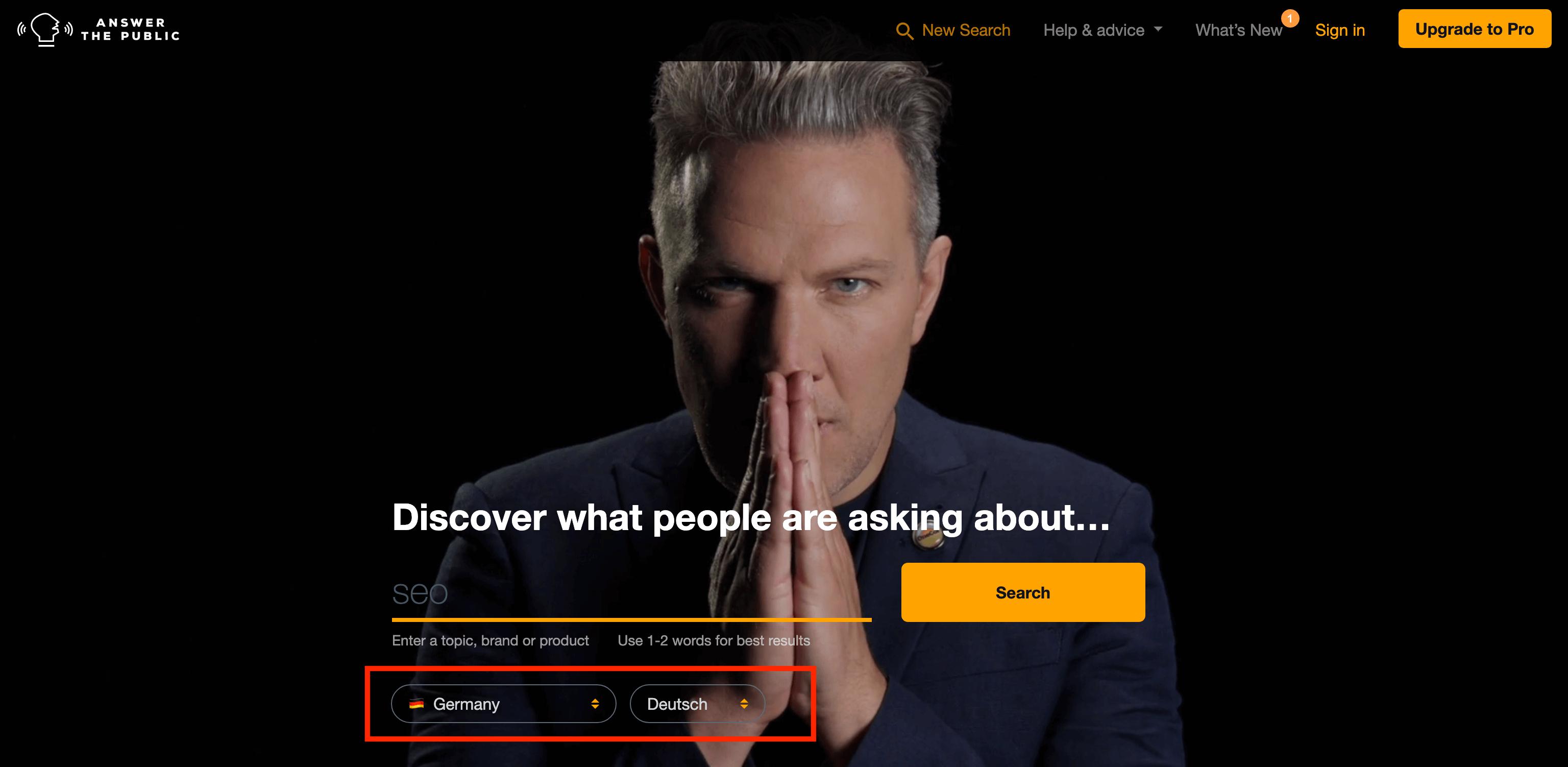 Answer The Public Keyword-Recherche Tool
