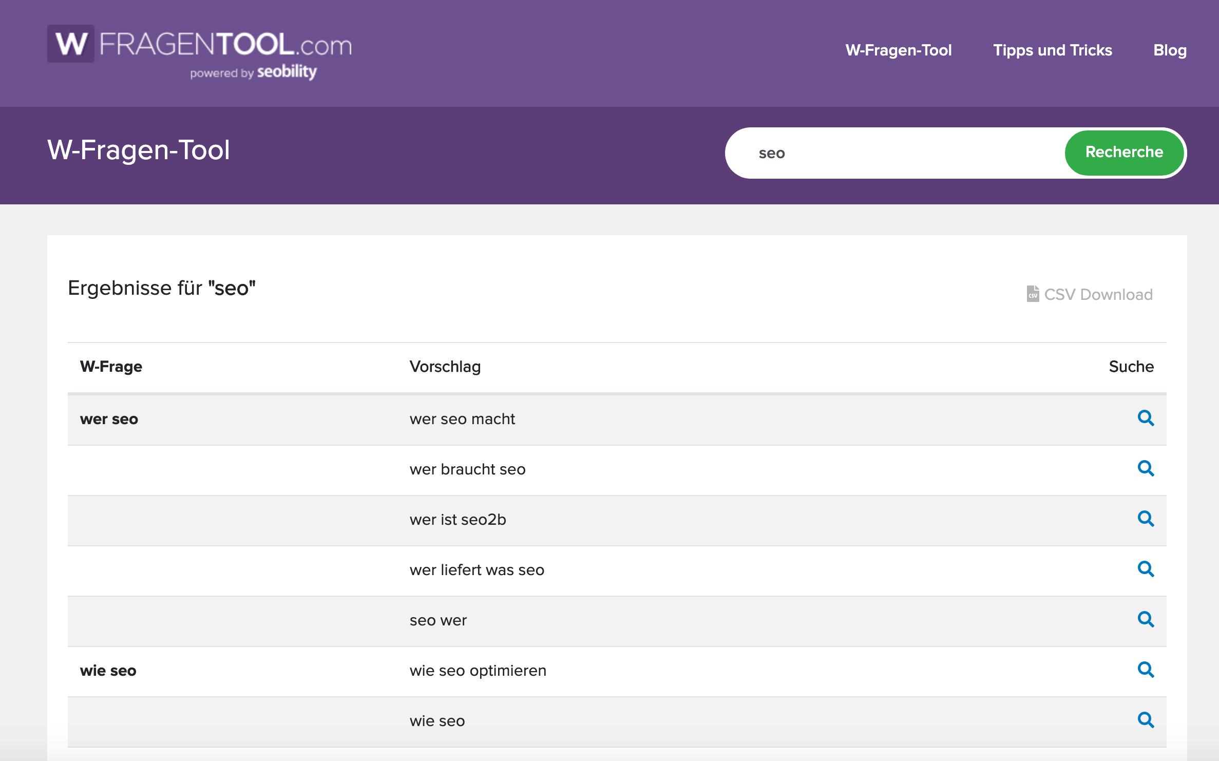 Das Ergebnis des W-Fragen-Tool zum Keyword »SEO«
