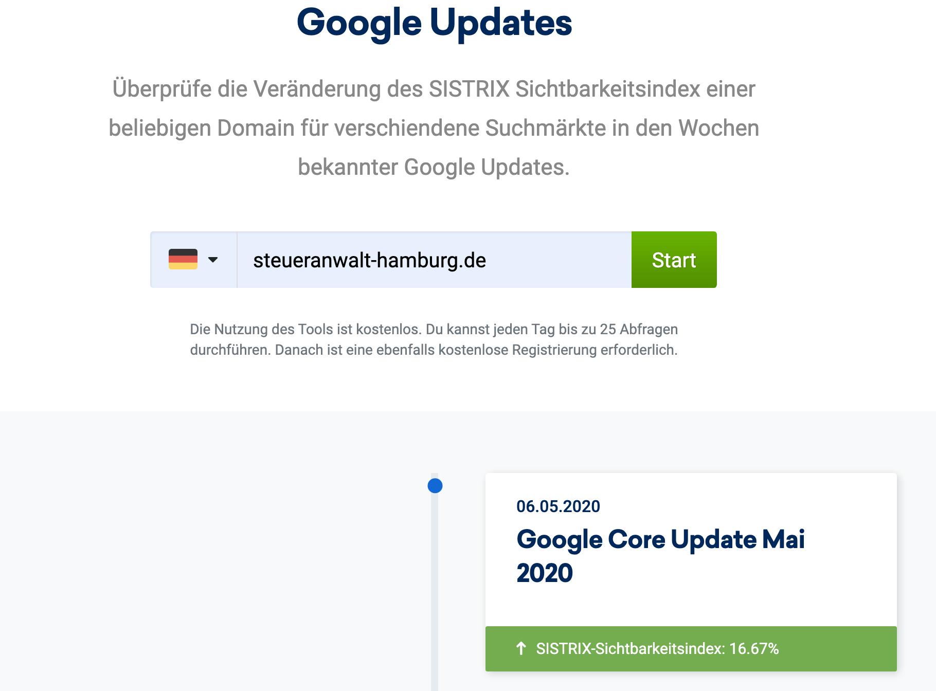 Check der Google Updates von Sistrix