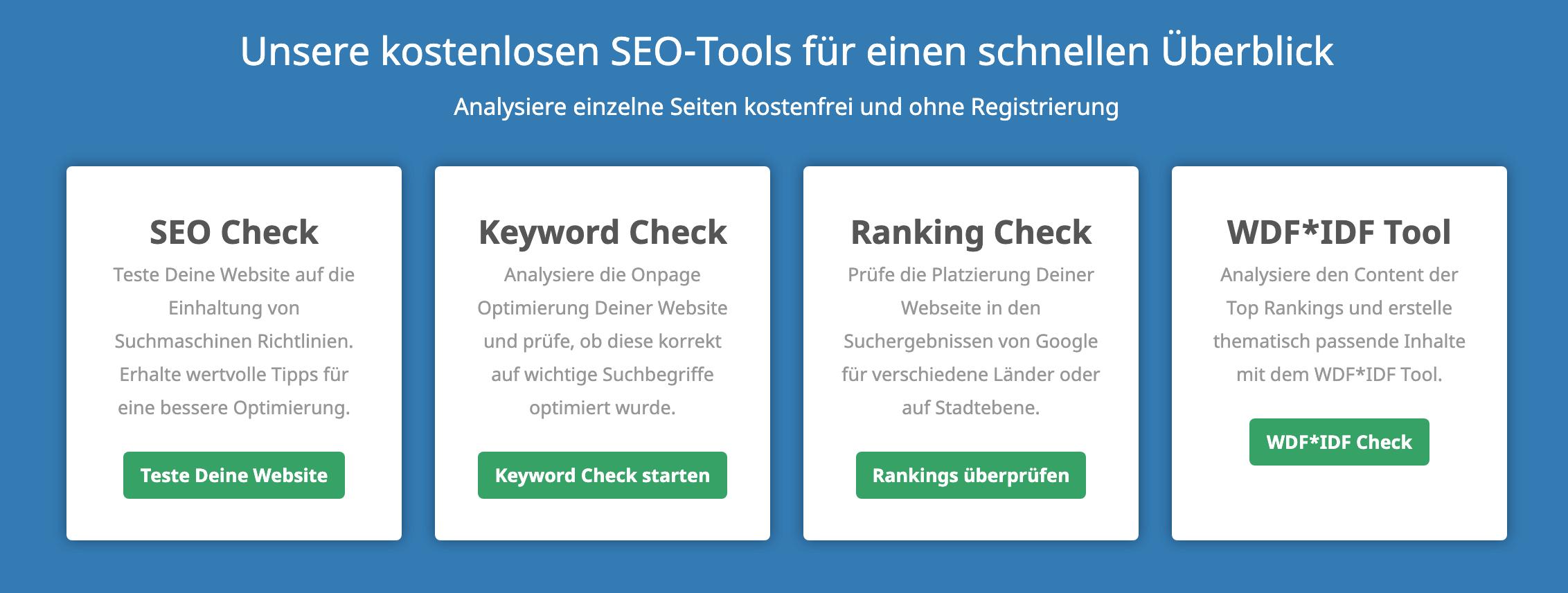 Kostenlose SEO-Online-Tools von Seobility