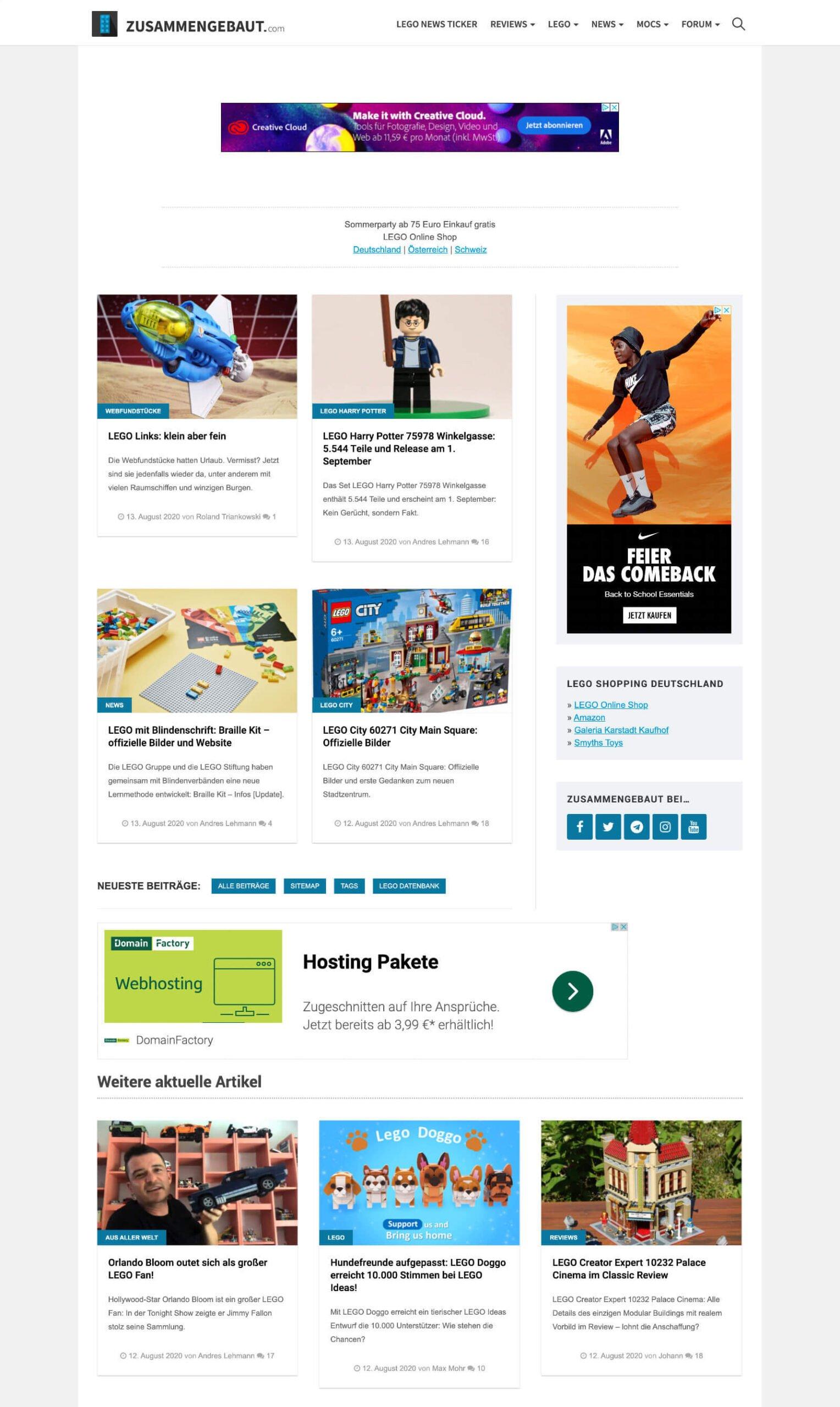 Die Startseite von Zusammengebaut.com