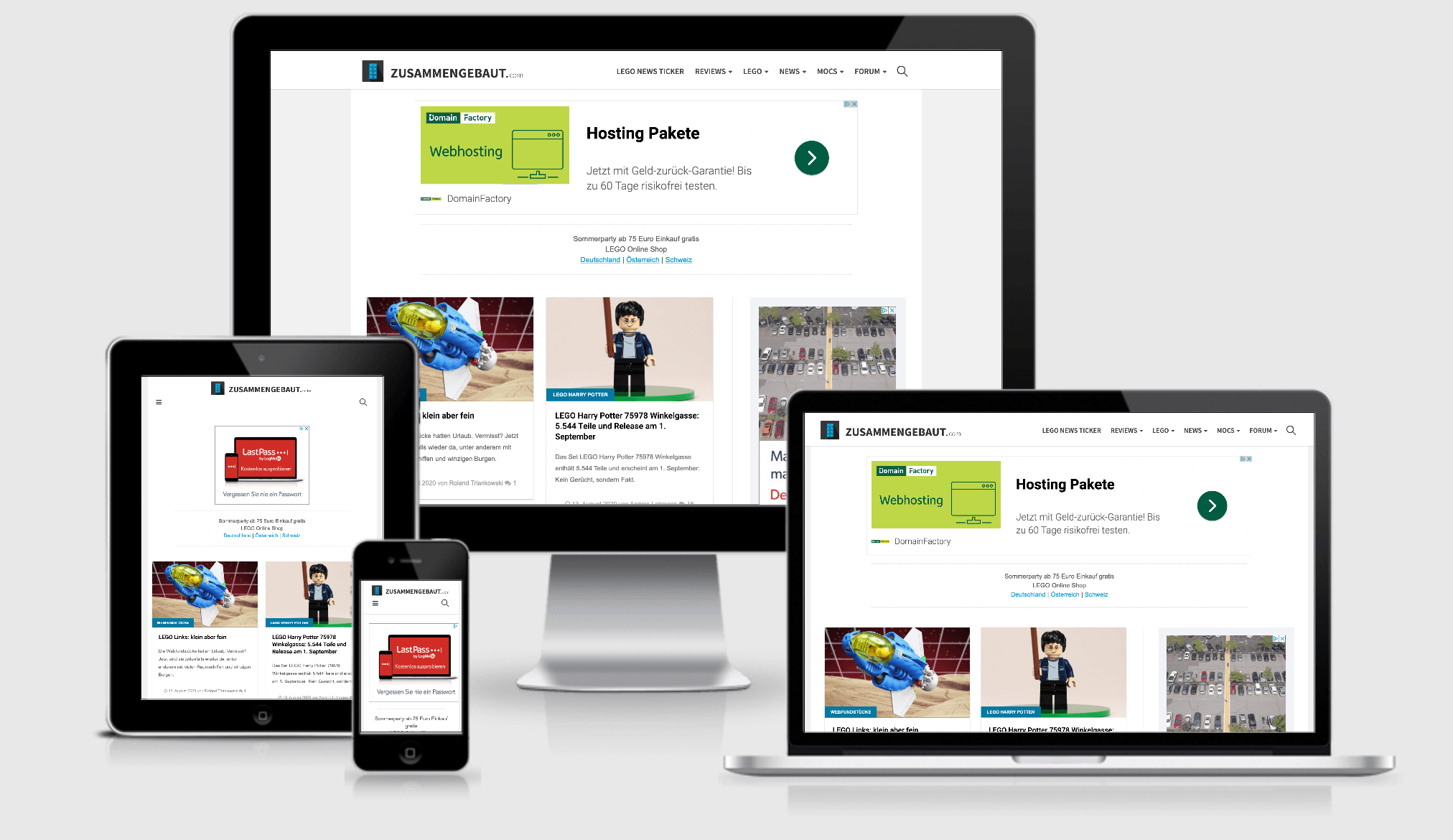 Zusammengebaut.com in responsiver Ansicht
