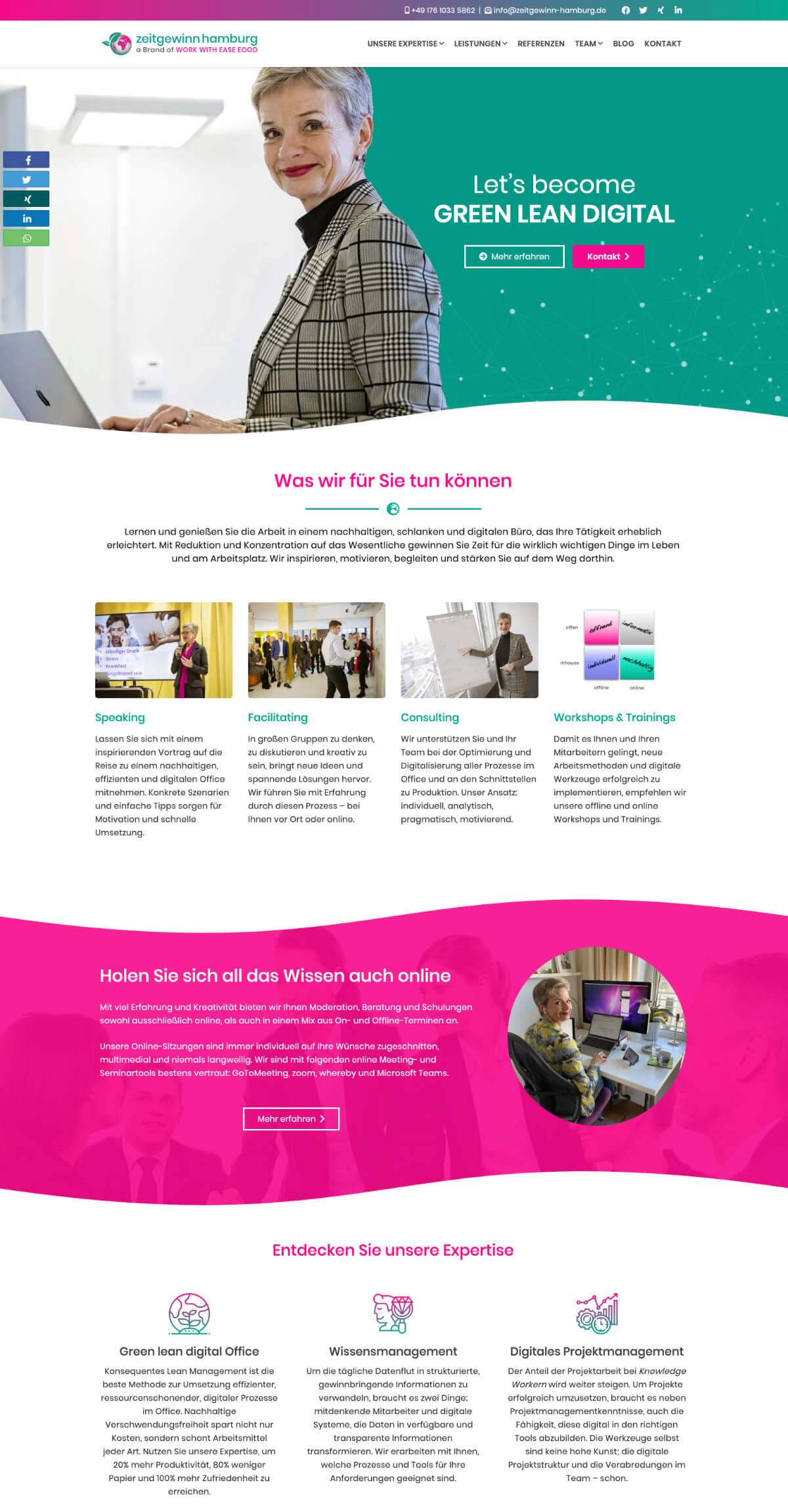 Die Startseite der Website zeitgewinn-hamburg.de