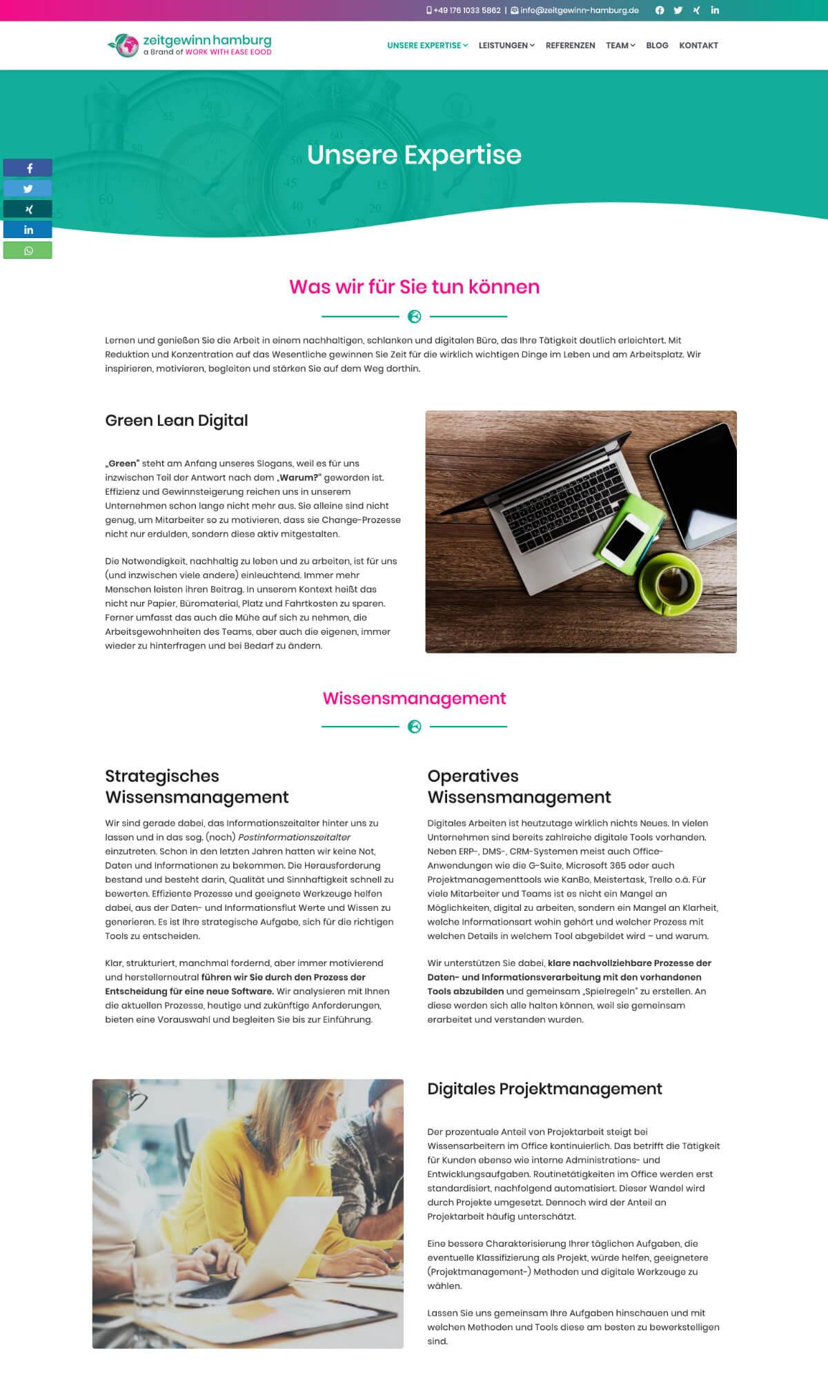 Die Seite »Expertise« der Website zeitgewinn-hamburg.de