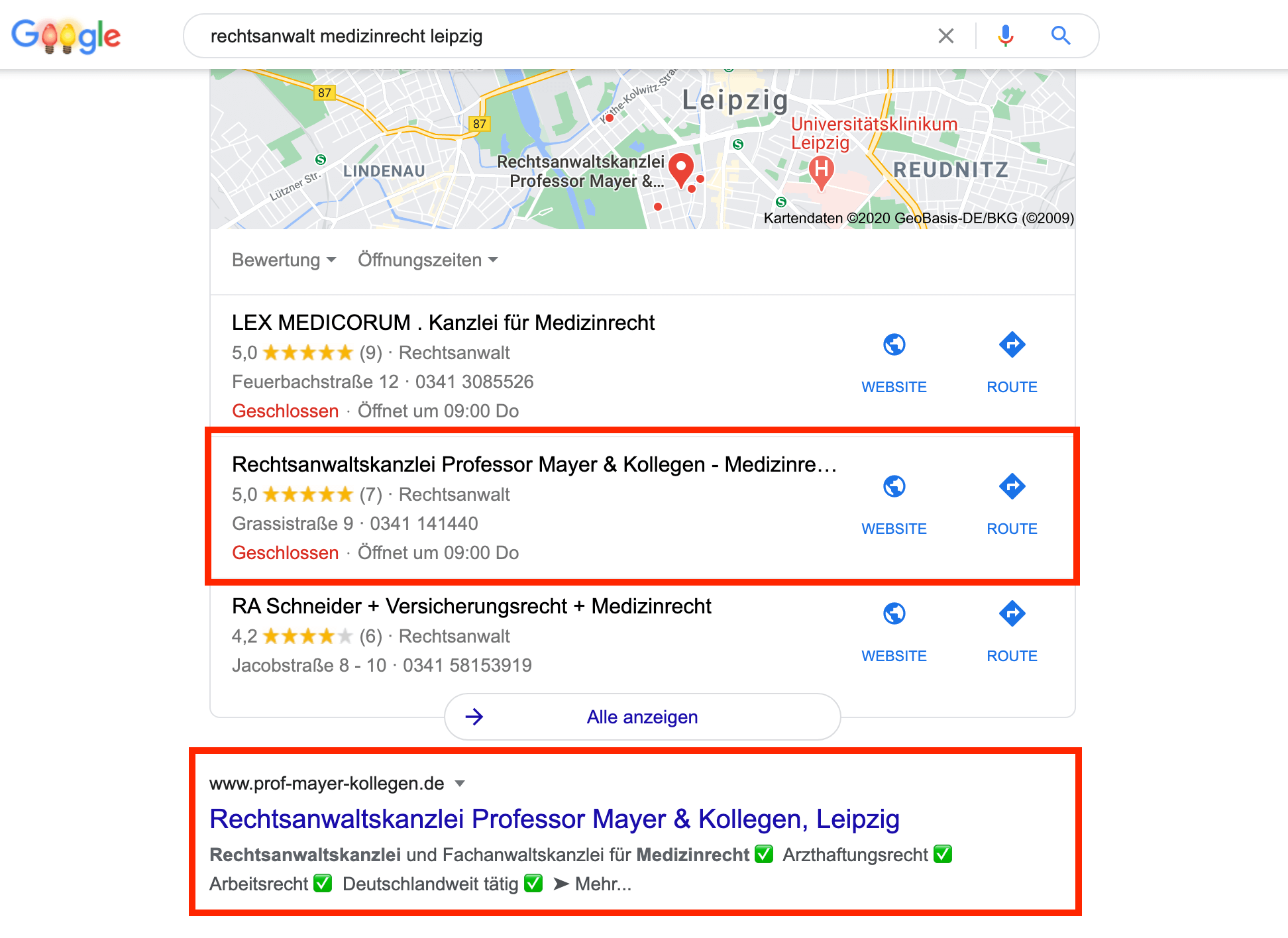 Google-Suchergebnis Rechtsanwälte Professor Mayer & Kollegen