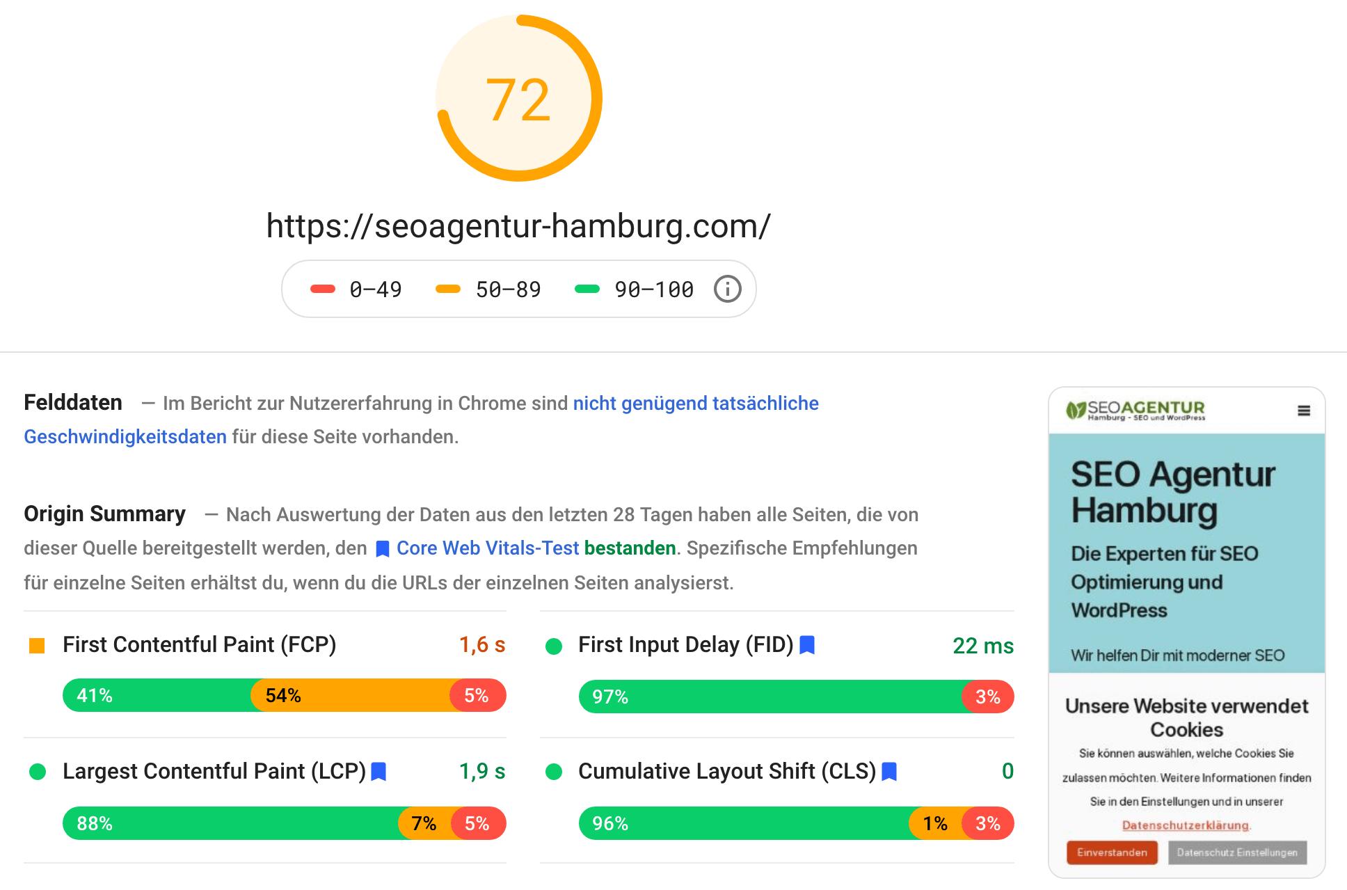 Das mobile Ergebnis eines Google PageSpeed Insights Tests dieser Website. Core Web Vitals SEO könnte noch mehr erreichen.