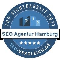"""Das Unternehmen """"SEO Agentur Hamburg"""" wird als eine der 100 sichtbarsten SEO-Agenturen im Jahr 2021 für seine herausragende SEO-Arbeit an der eigenen Agentur-Website ausgezeichnet."""