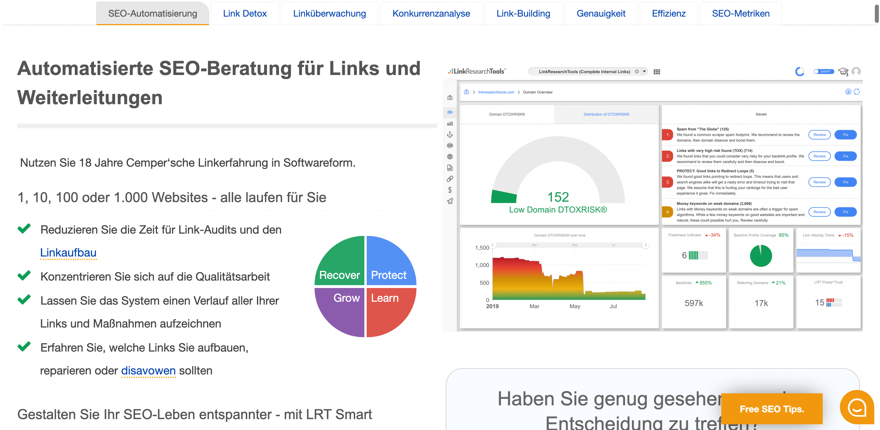 Die Link Research Tools. Professionelle Backlink-Software.